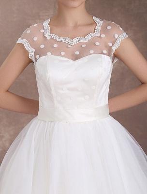 Kurze Brautkleider Vintage 50er Jahre Brautkleid Open Back Polka Dot Elfenbein A Line Tee Länge Hochzeitskleid Exklusiv_5