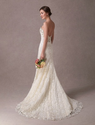 Mermaid Wedding Dresses Lace Strapless Ivory Sweetheart Beaded Bridal Dress With Train Exclusive_7