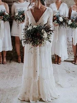 Boho Wedding Dresses 2021 A Line Deep V Neck Multilayer Lace Chiffon Beach Party Dress Bridal Gowns_1