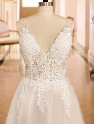 Simple Wedding Dress 2021 A Line V Neck Straps Sleeveless Lace Appliqued Tulle Bridal Gown_7