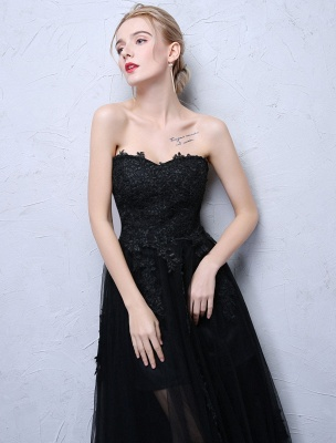 Black Prom Dresses Strapless Long Party Dress Lace Applique Sweetheart Illusion Formal Evening Dress_6
