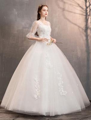 Tüll Brautkleid Elfenbein Spitze Applique Blumendetail Halbarm Prinzessin Brautkleid_2