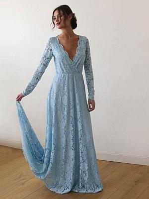 Robe de mariée en dentelle avec train A-ligne manches longues col en V robes de mariée ivoire_4