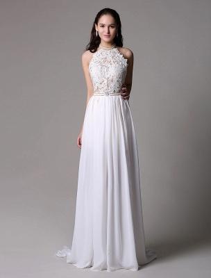 White Prom Dresses 2021 Long Ivory Halter Backless Evening Dress Lace Applique Beading Chiffon Split Party Dress_5
