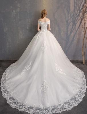 Ballkleid Prinzessin Brautkleider Elfenbein Spitze Perlenketten Schulterfrei Brautkleid_6