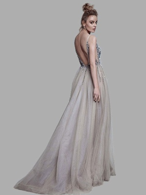 Boho Wedding Dress 2021 A Line Deep V Neck Sleeveless Straps Split Front Floor Length Prom Dresses_2