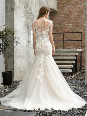 Wedding Dress Jewel Neck Sleeveless Natural Waist Lace Bridal Mermaid Dress With Train_5