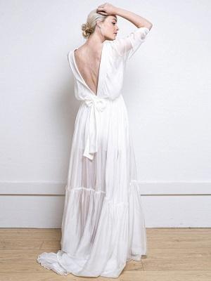 Weißes einfaches Hochzeitskleid A-Linie V-Ausschnitt Halbarm Rückenfrei Tüll Satin Stoff Lange Brautkleider_3