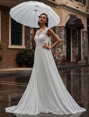 Weißes Brautkleid Illusion Ausschnitt Ärmellose Applikation Chiffon Bodenlangen Brautkleider Zug Kleid_3