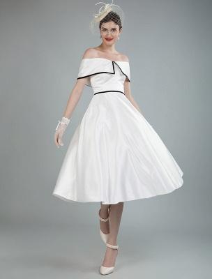 Vintage Brautkleider Satin Schulterfrei A Line Tee Länge Kurze Brautkleider Exklusiv_4