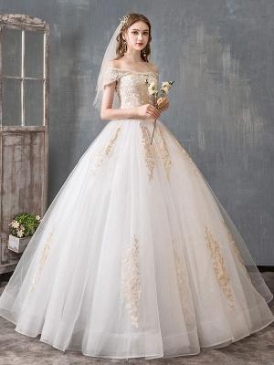 Robes de mariée 2021 robe de bal hors épaule dentelle dorée appliqued étage longueur robe de mariée_2