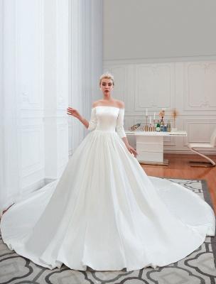 Vintage Brautkleid 2021 Satin 3/4 Ärmel schulterfrei bodenlangen Brautkleider mit Kapelle Zug_6
