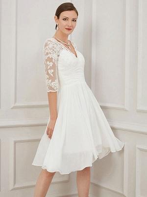 Vestido de novia corto marfil Hasta la rodilla Cuello en V Medias mangas Una línea Cintura natural Vestidos de novia de gasa_2