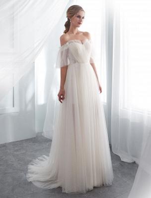 Ivory Wedding Dresses Off Shoulder Half Sleeve Tulle Beach Bridal Dress With Train_3