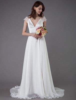 Strand-Hochzeitskleider-Spitze-Satin-A-Linie-Elfenbein-Luxus-Rücken-Kreuz-High-Split-Sommer-Brautkleider-Mit-Zug_2