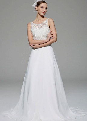 Ivory Wedding Dress Illusion Rhinestone Lace Satin Wedding Gown_1