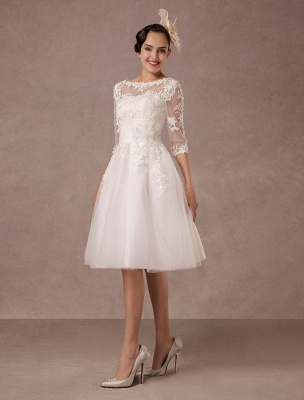 Short Wedding Dress Vintage Lace Applique Long Sleeves Tea Length A Line Tulle Bridal Gown With Flower Sash Exclusive_4