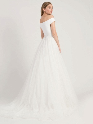 White Simple Wedding Dress A-Line Bateau Neck Off-Shoulder Sleeveless Natural Waistline Pleated Tulle Bridal Dresses_2