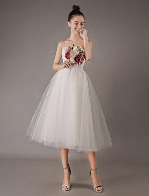 Vestidos de novia vintage Vestido de novia corto de tul sin tirantes hasta el té Exclusivo_3