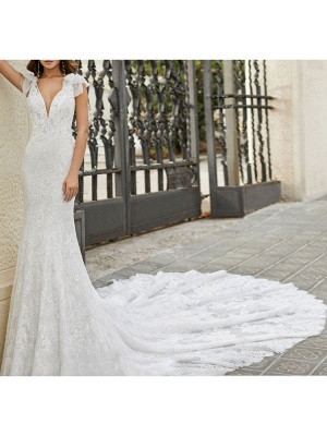 Brautkleid mit Zug Meerjungfrau Kleid Ärmellos Spitze V-Ausschnitt Lange Brautkleider_2