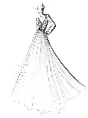 Elfenbein Einfaches Brautkleid mit Zug A-Linie V-Ausschnitt mit langen Ärmeln Spitze Brautkleider_10