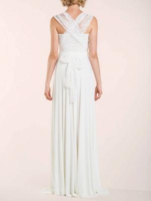 Einfache Brautkleider Mantel V-Ausschnitt Ärmellos Plissee Bodenlangen Mit Zug Spitze Brautkleider_6