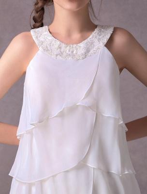 Einfache Brautkleider Elfenbein Chiffon Cocktailpartykleid Perlen Tiered A Line Halfter Kurzes Brautkleid Exklusiv_8