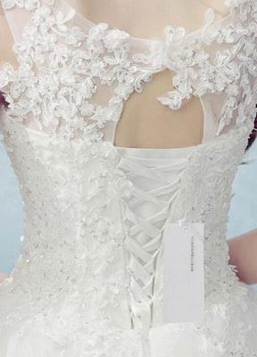 Vestido de novia de encaje Escote redondo Sin mangas Satén Red Vestido de novia con cordones y cuentas_4