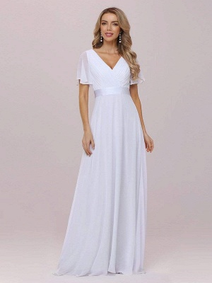 Simple Wedding Dress Chiffon V-Neck Short Sleeves Backless A-Line Long Bridal Gowns_6