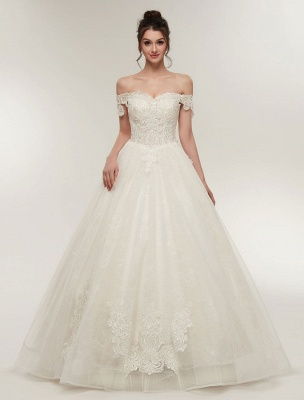 Princess Wedding Dresses Off The Shoulder Ivory Bridal Dresses Lace Applique Tulle Floor Length Ball Gowns_1
