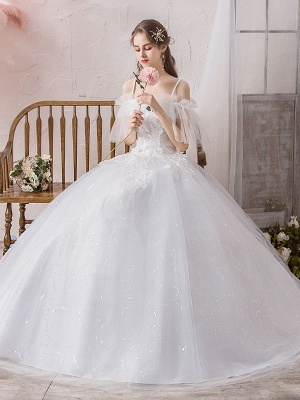 Ball Gown Wedding Dress Princess Silhouette Off The Shoulder Short Sleeves Natural Waist Floor Length Bridal Gowns_7