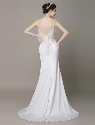 Satin Sheath Wedding Dress Plunging Neckline Bow Back Belt Lace Beading Evening Dress Exclusive_8