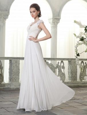 Beach Wedding Dresses V Neck Chiffon Summer Bridal Dress Chiffon Flowers Beading Pleated Floor Length Wedding Gown Exclusive_2
