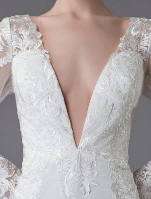 Beach Wedding Dresses Ivory Lace V Neck Long Sleeve Mermaid Bridal Gown With Train Exclusive_9