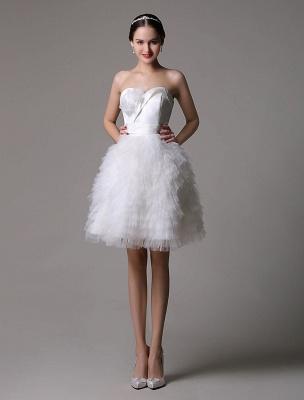 Robe de mariée courte en satin sans bretelles avec jupe fatiguée en tulle_2