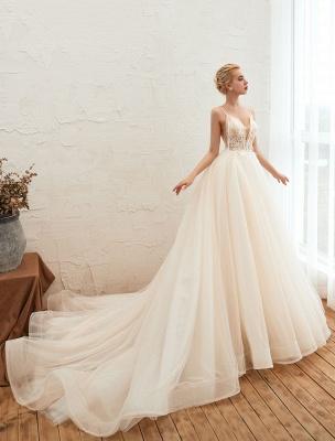 Vestido de novia 2021 Una línea Cuello en V Sin mangas Cintura natural con tren Vestidos de novia de tul_4