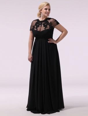 Black Prom Dresses Plus Size Evening Dress Chiffon Lace Applique Illusion Short Sleeves Floor Length Wedding Guest Dress Exclusive_4