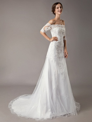 Wedding Dresses Ivory Lace Off Shoulder Half Sleeve Sequin Applique Bridal Dress With Train Exclusive_4