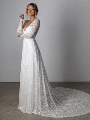 Ivory Lace Wedding Dress Chapel Train A-Line Long Sleeves Lace V-Neck Long Bridal Gowns_2