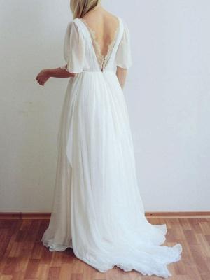 Simple Wedding Dress V Neck Half Sleeves Pleated A Line Floor Length Bridal Dresses_5