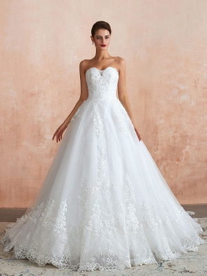Wedding Dress Princess Silhouette Sweetheart Neck Sleeveless Natural Waist Bridal Gowns With Train_5