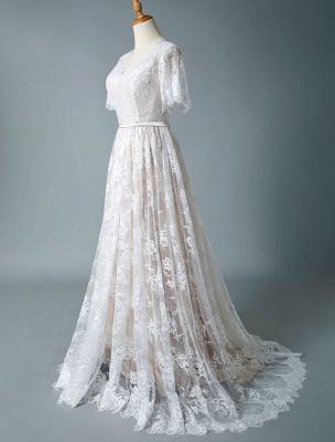 Einfaches Hochzeitskleid 2021 V-Ausschnitt A-Linie Kurzarm Tiefes V Backless Lace Brautkleider_5