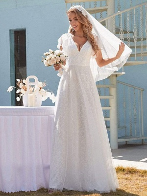 White Simple Wedding Dress Lace V-Neck Short Sleeves Backless Ruffles A-Line Natural Waist Long Bridal Gowns_3