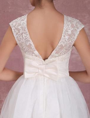 Mini robe de mariée élégante en filet à col rond_8