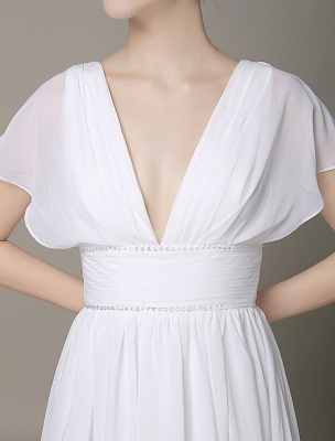 Plunging Chiffon Beach Wedding Dress A-Line Ivory V-Neck Pleated Belt Short Sleeves Bridal Dress With Court Train Exclusive_6