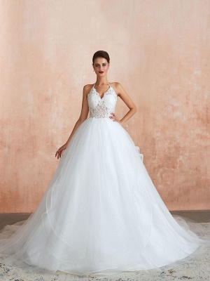 Wedding Dress 2021 Ball Gown Halter Sleeveless Floor Length Lace Tulle Bridal Gowns With Train_7