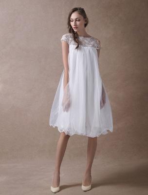 Simple Wedding Dresses Short Empire Waist Lace Tulle Cap Sleeve Pregnant Bridal Dress Exclusive_2