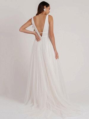 Weißes schlichtes Brautkleid A-Linie V-Ausschnitt Ärmellos Bodenlang Plissee Tüll Brautkleider_3