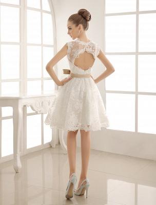 Ivory Simple Wedding Dresses 2021 Lace Applique V Neck Ribbon Sash Short Bridal Dress Exclusive_8