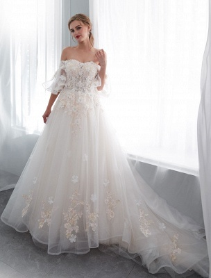 Princess Wedding Dresses Half Sleeve Off Shoulder Lace Flowers Pearls Applique Ivory Bridal Dress With Train_4